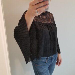 Abercrombie pleated sleeve lace blouse zara XS